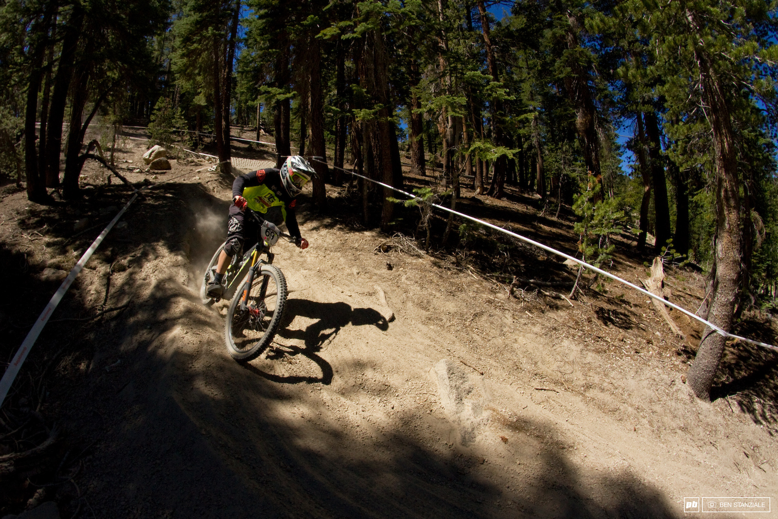 No shortage of California dryness. With hundreds of riders coming down the hill the tracks get rougher and more blown out as the day goes on.