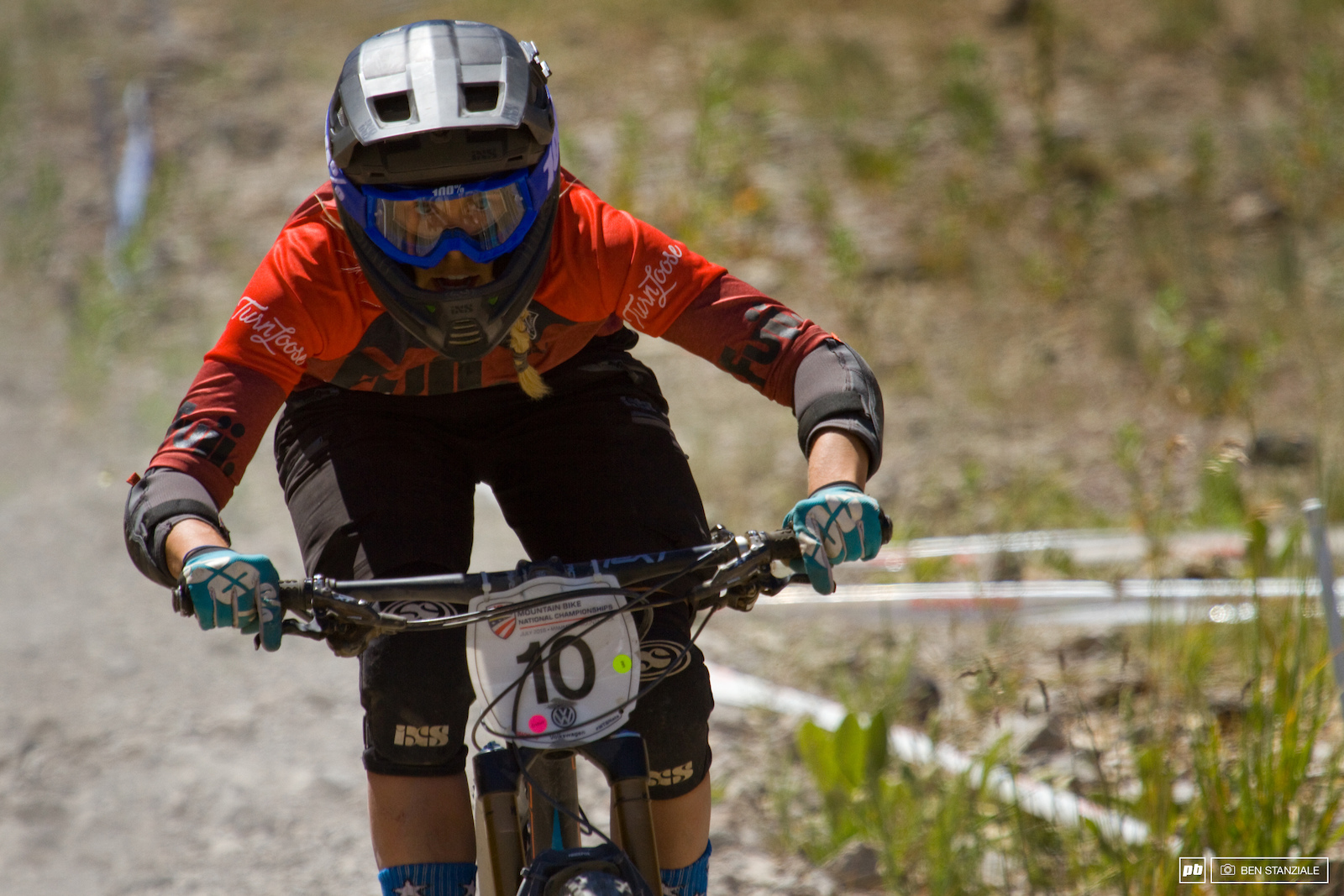 Lauren Gregg coming into the finish of 4 long stages. 3rd place for Lauren Gregg.