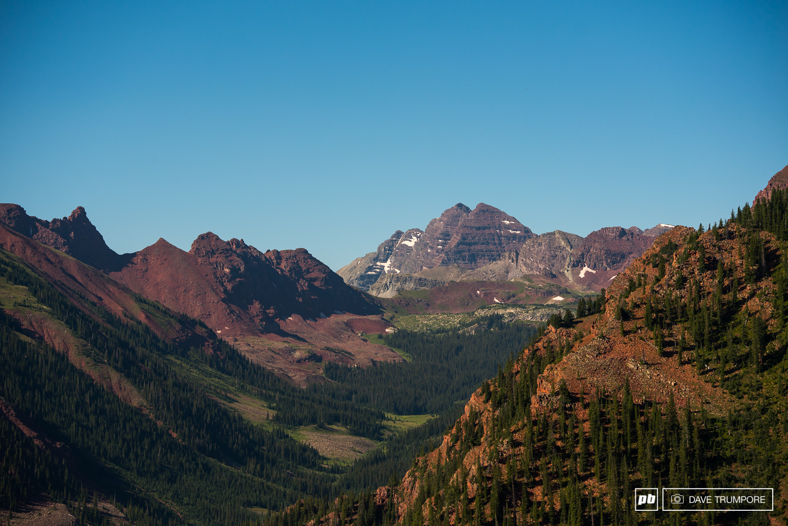 The iconic Maroon Bells as see from the top of stage 4