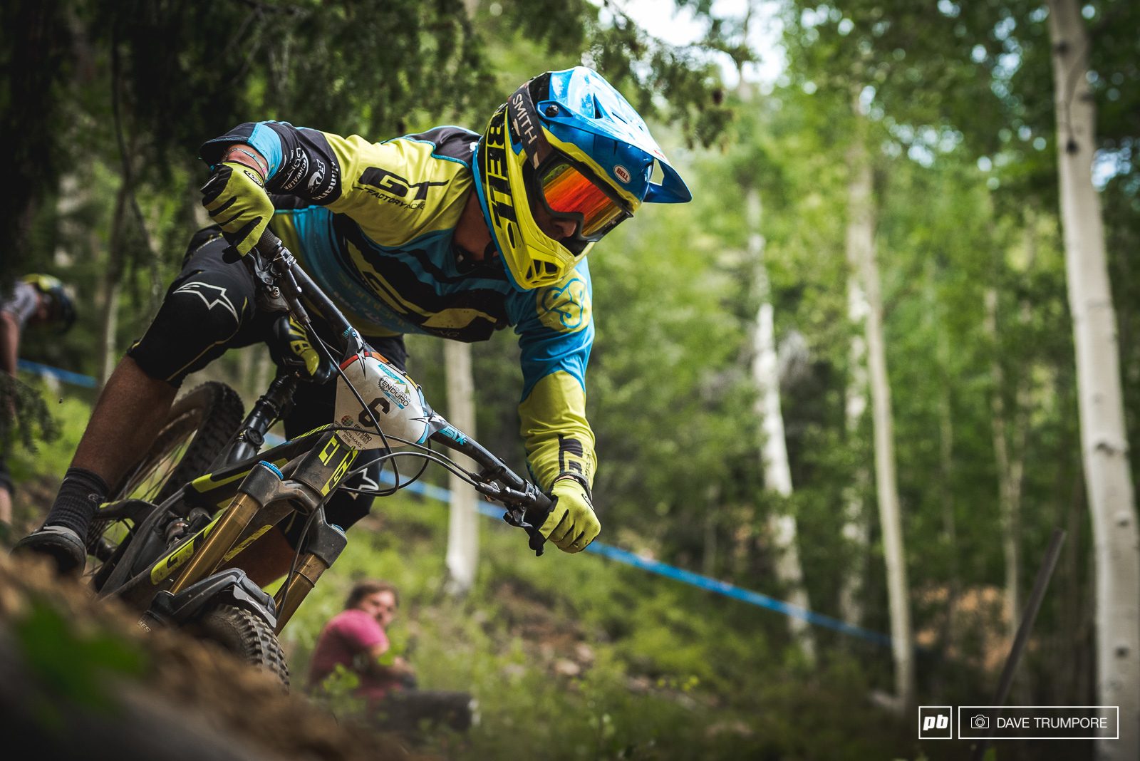 After a broken wrist suffered while racing the WC at Fort William Martin Maes has finally been cleared to race here in Aspen. Admittedly a bit down on upper body strength his fitness should still shine through on the physical Aspen stages.