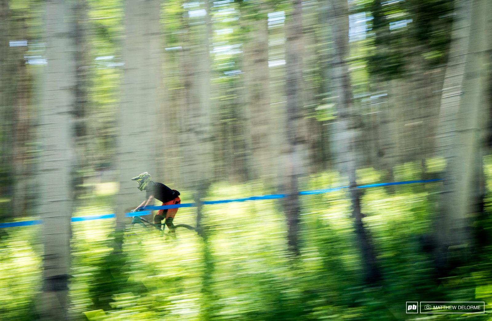 Speeding through the lovely aspen groves of Aspen. Aspen.