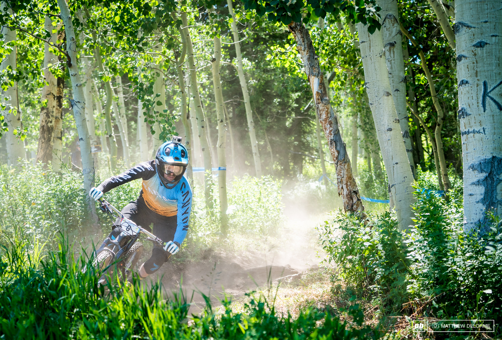 Joe Barnes has been digging plenty of loose corners at home and sliding about on a daily basis. Perhaps that training will pay off here on the loose trails in Aspen.