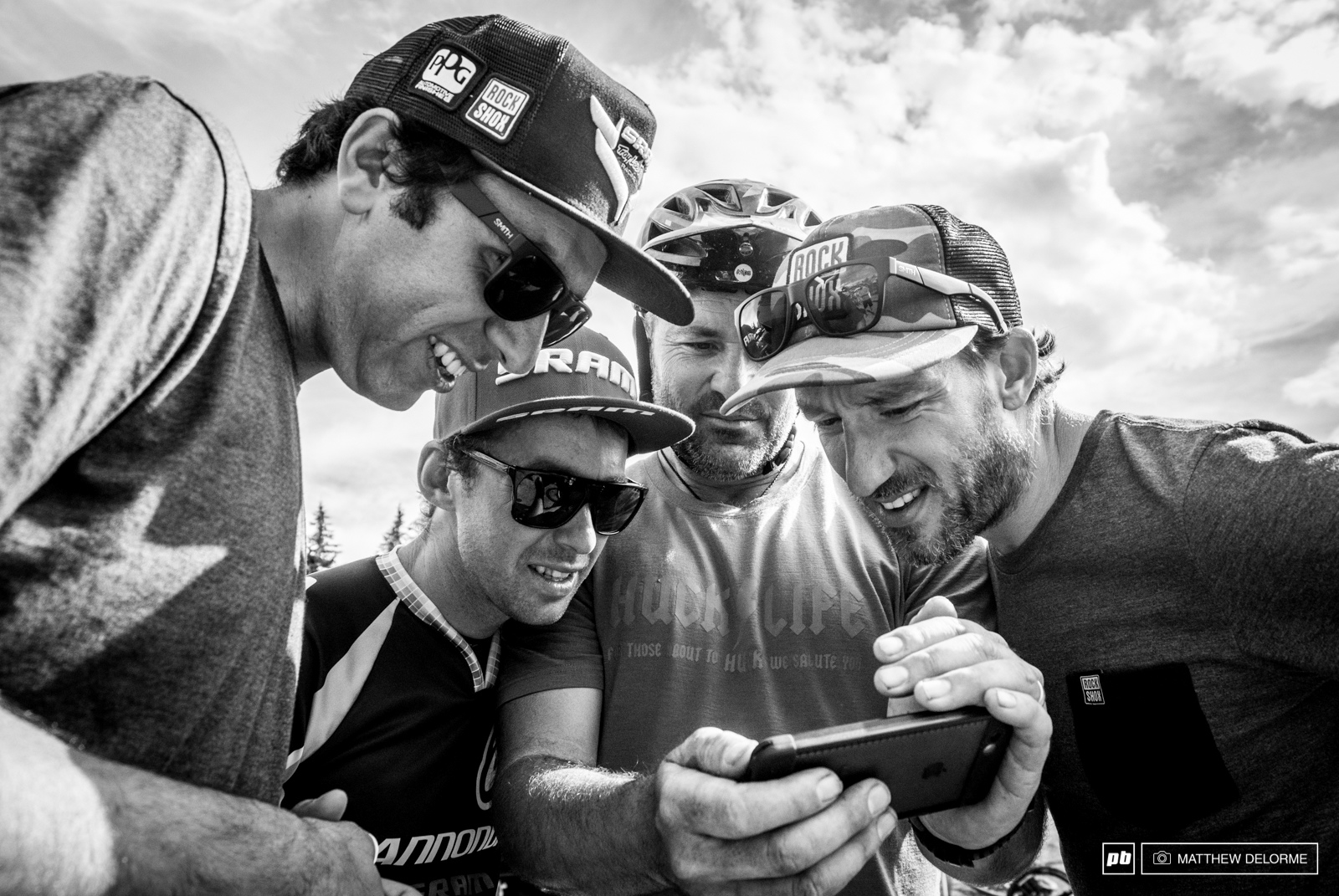 Just a few SRAM lads enjoying some highlights from the drop on stage six.