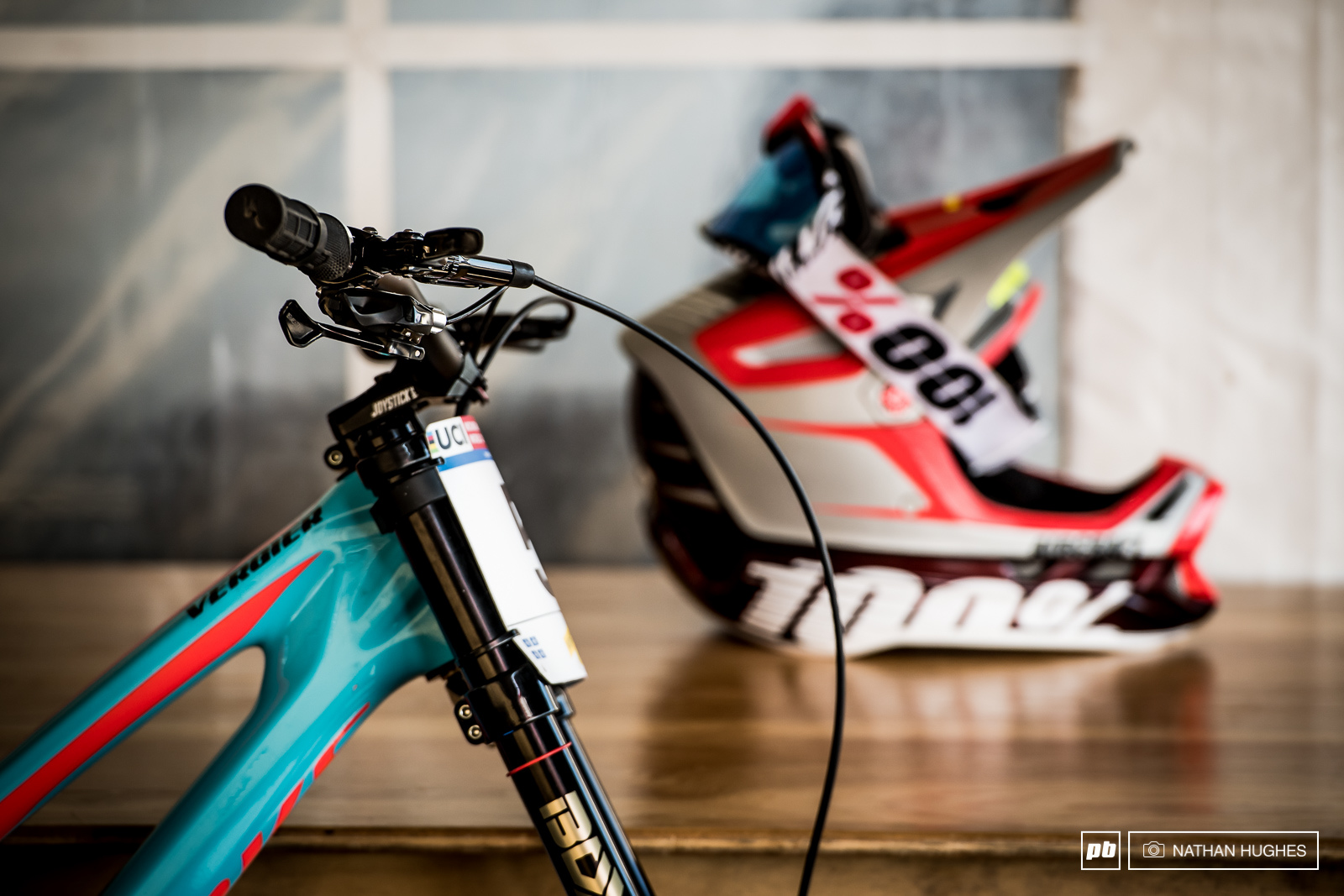 Loris Vergier is a fan of ultra high brake lever positioning... like crazy high.