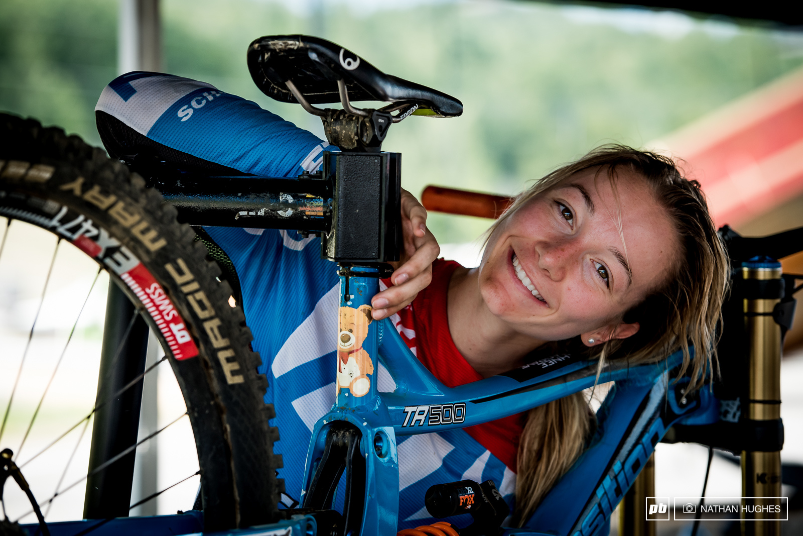 Tahnee and Ted now immortalised on her seat-tube.