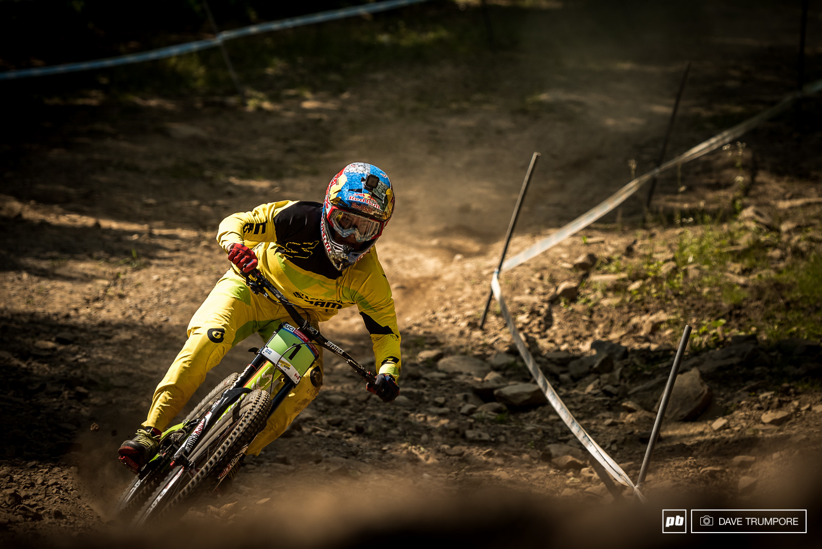 Finn Iles fully committed around one of the fastest corners the WC has ever seen.