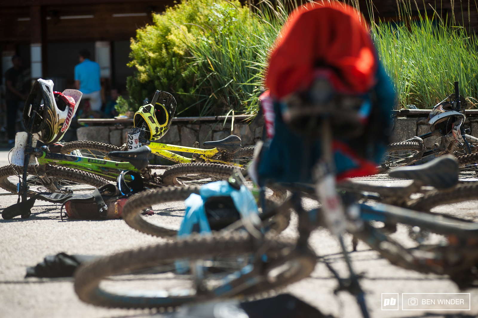 A bike graveyard as riders ditched their bikes and congratulated each other and headed straight for the food tent.