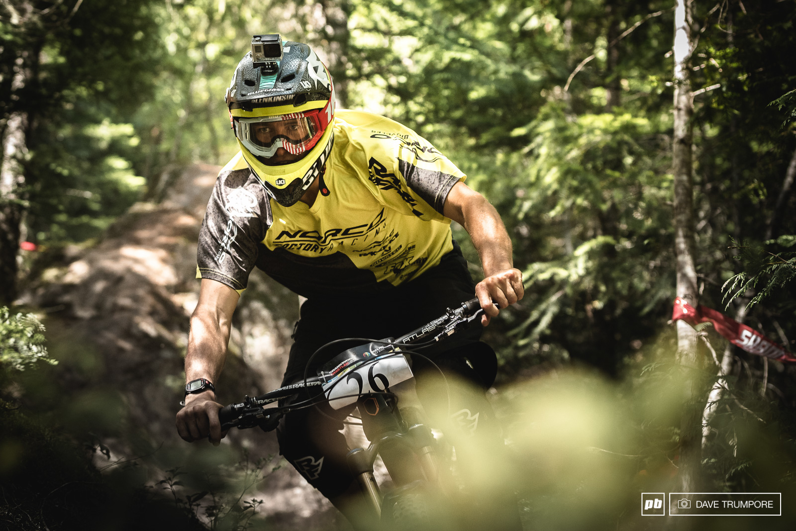 Sam Blenkisop seems to be enjoying the steep and loose conditions here in Whistler. While adding to the fun and just out of view in this photo is his very new and yet unseen Norco 29er.