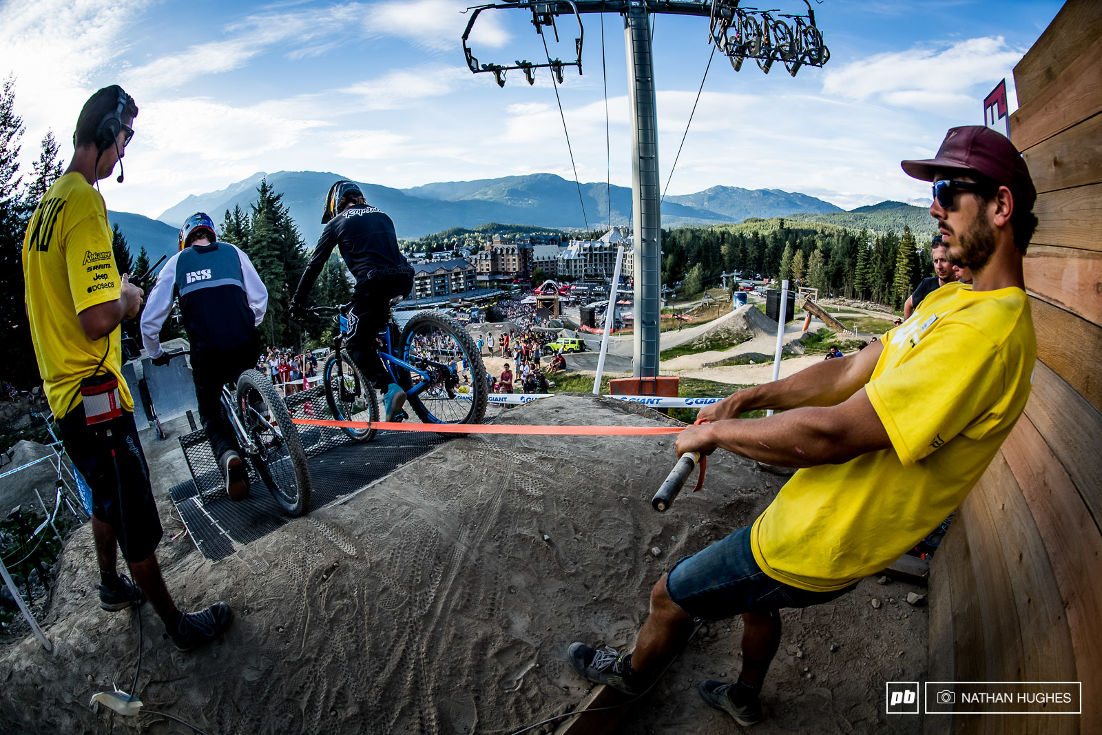 With a pneumatic gate fail the Crankworx team had to go full manual.