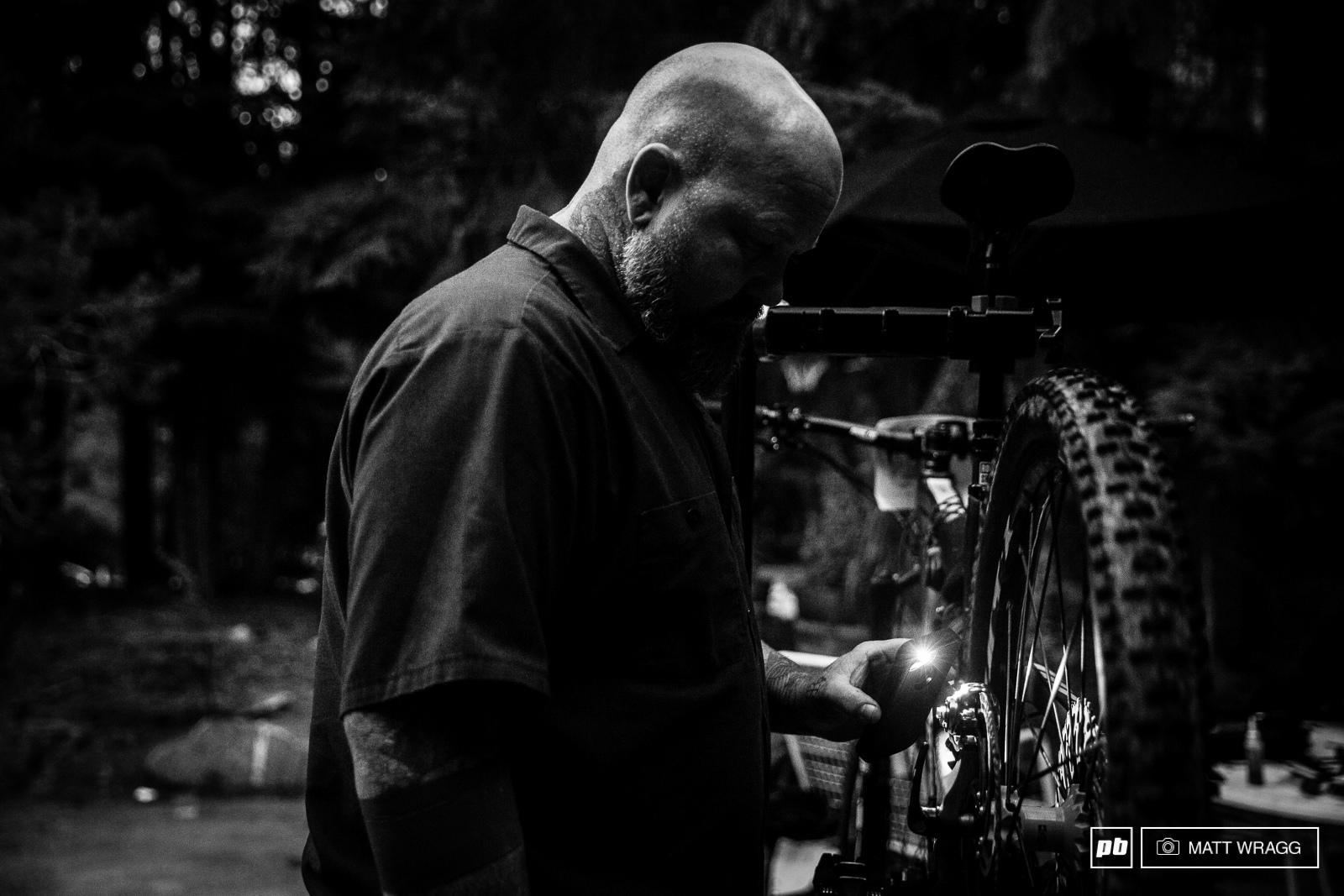 Saturday was a late night for the mechanics getting the bikes ready for the big day.