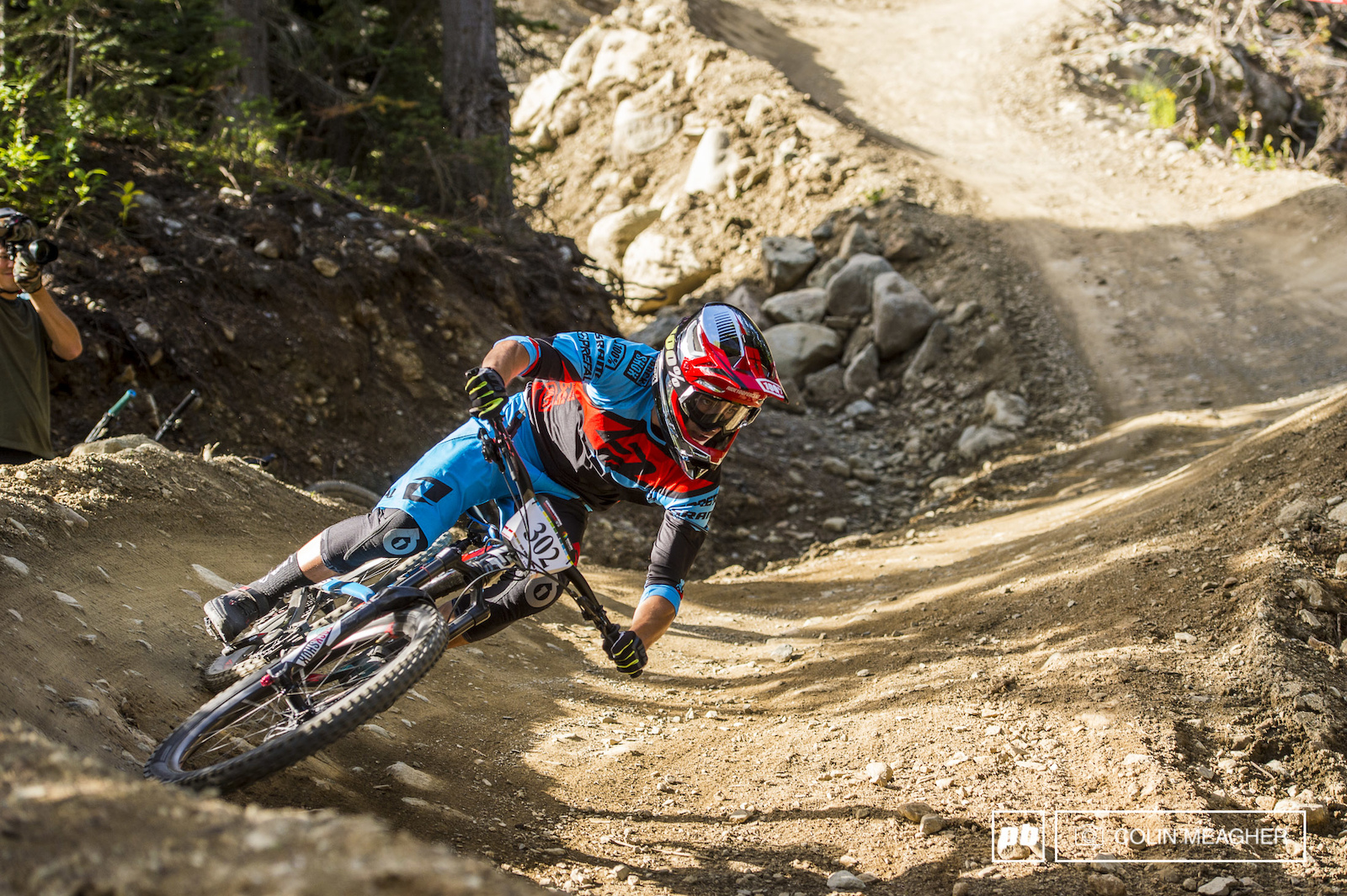 Adrien Dailly ripping the bike park a new one on stage 1.