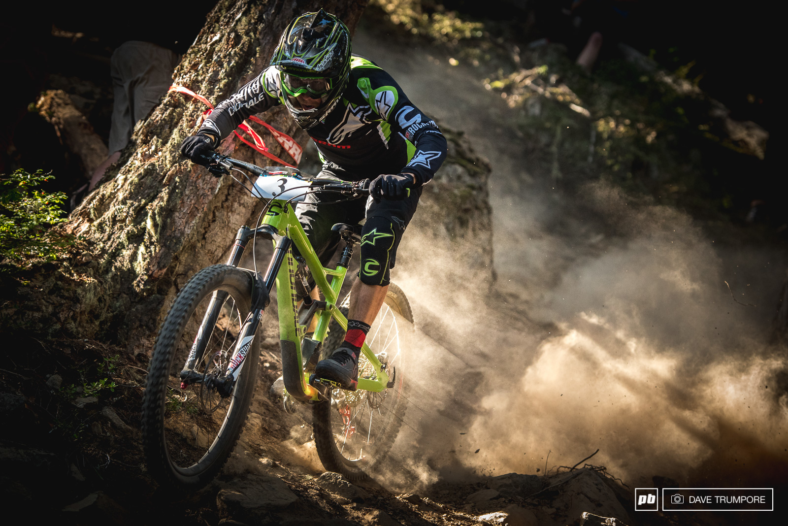 Jerome Clementz leaves a trail of dust in his wake as he makes his way down the steep and loose stage 4.