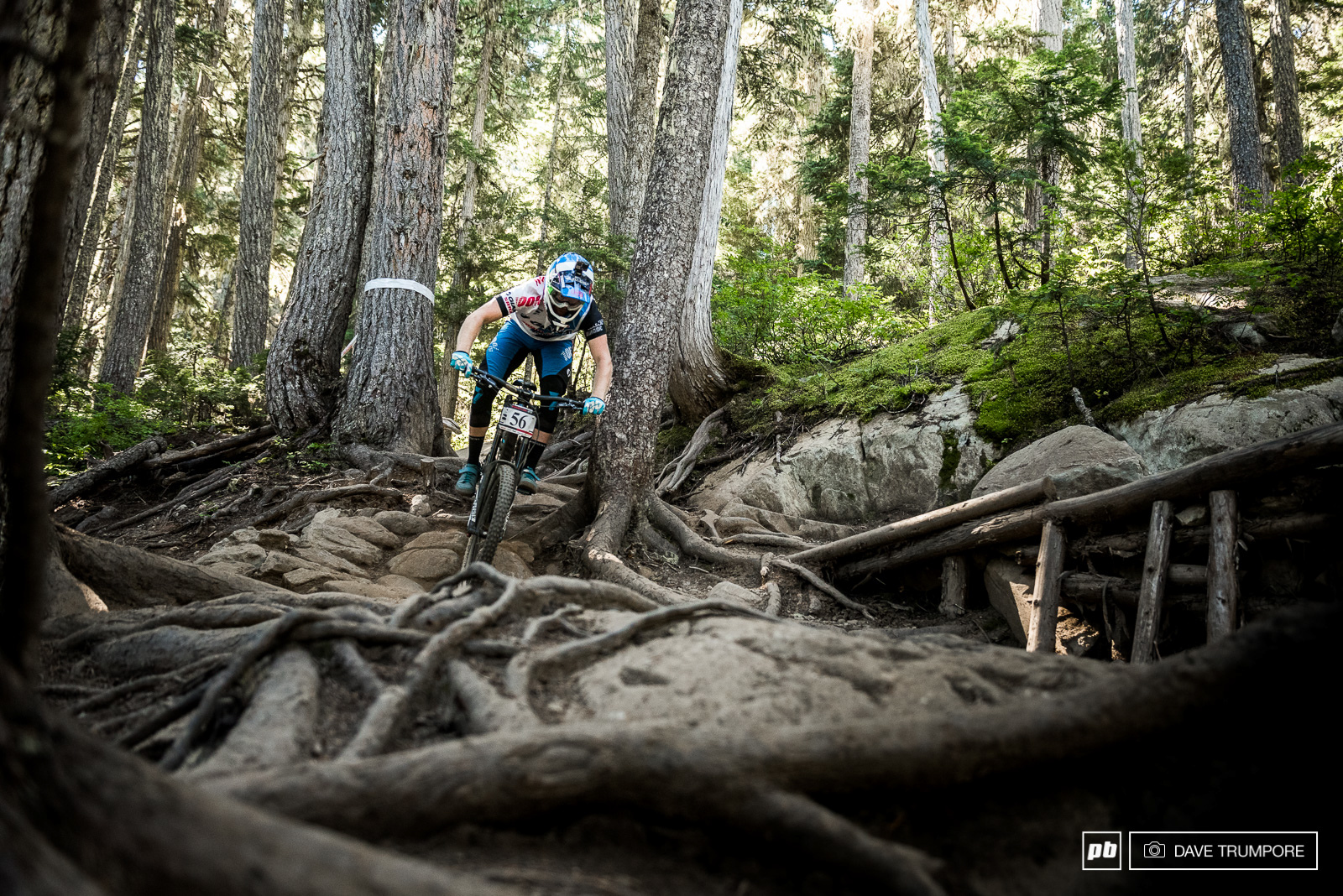 Josh Carlson swapped his enduro bike for a little extra DH bike muscle to tackle the super rough Garbo track.