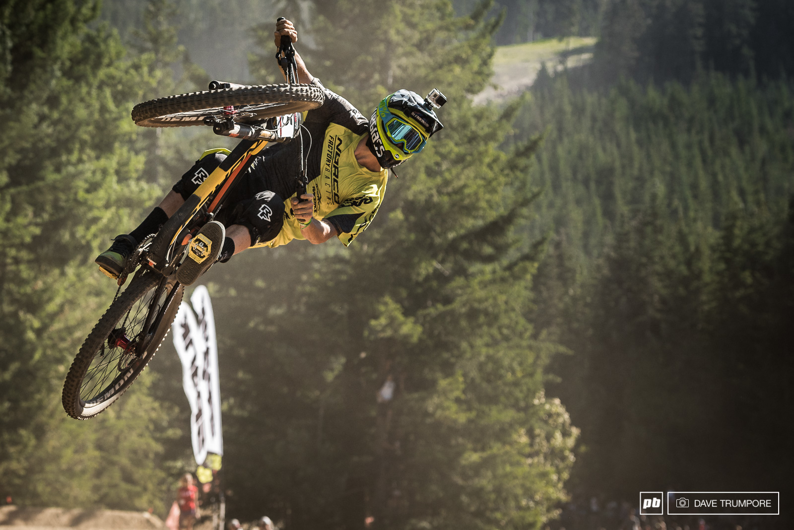 Sam Blenkinsop has a style all his own. He hangs way off the bike on the way up and then rotates the back end around in what almost looks like slow motion.