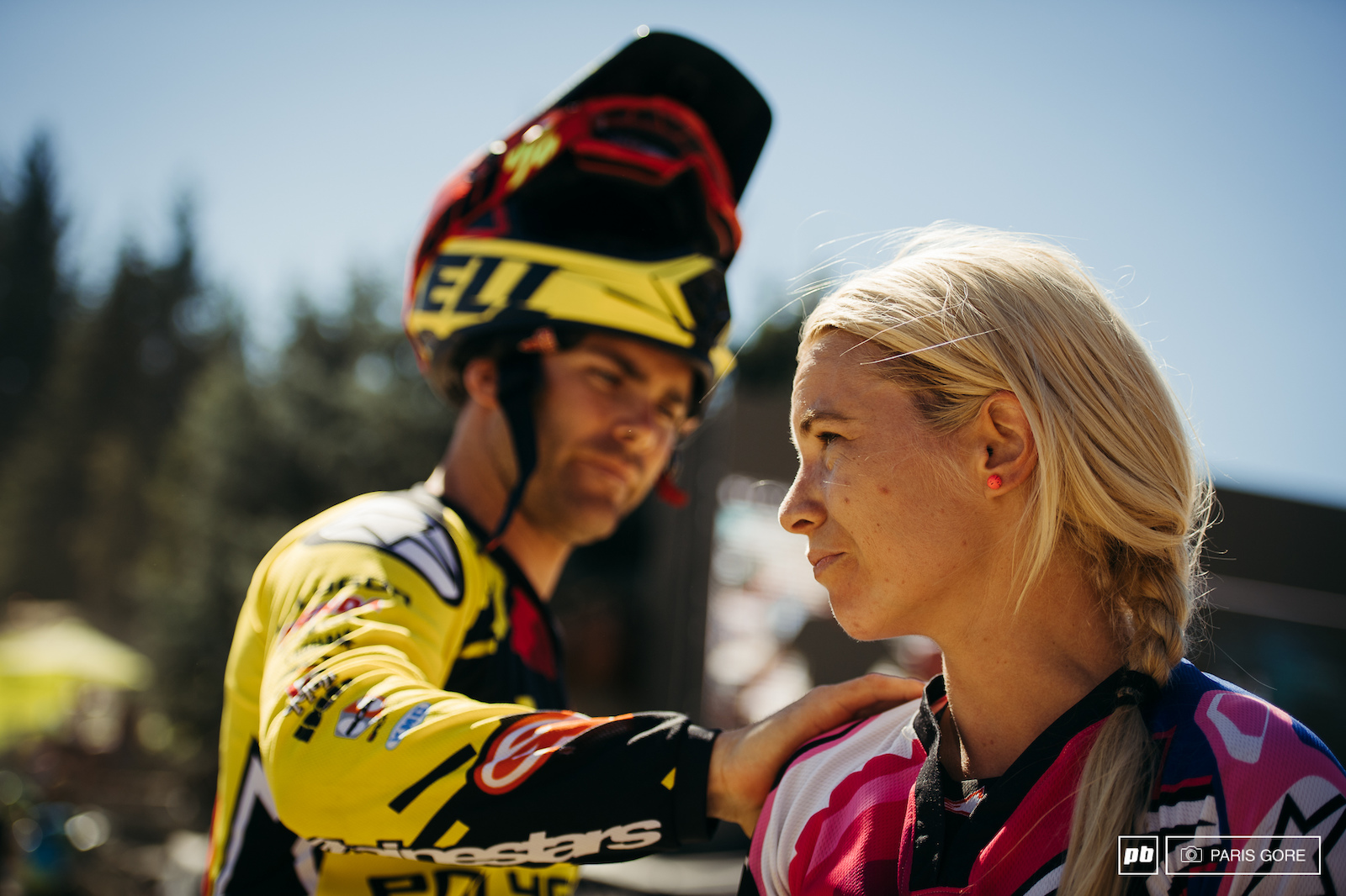 Mick Hannah congratulating his younger sister on her big win today at the Canadian Open DH.