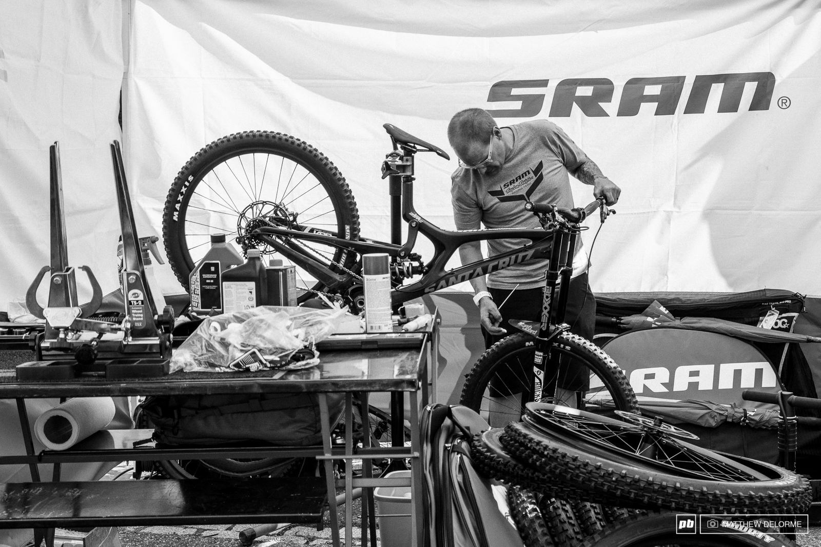 Luca Shaw s bike getting top treatment from SRAM s finest.