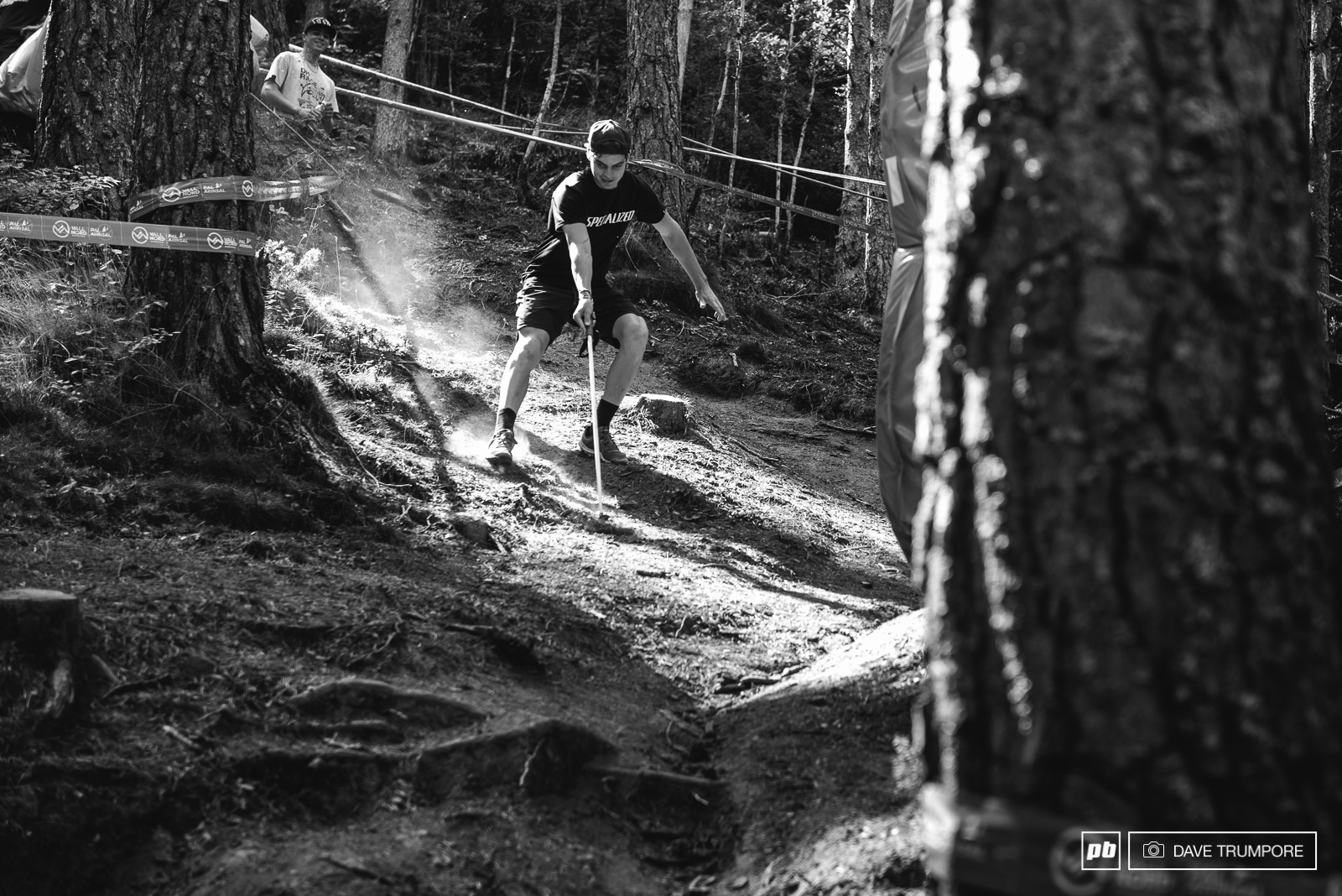 Loris Vergier trying to put the brakes on while descending one of the steep chutes in the lower woods.
