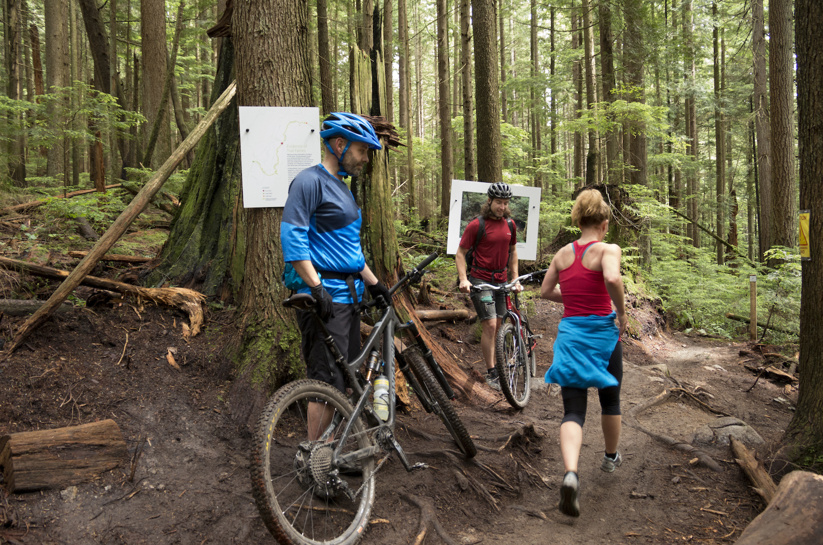 The trail is frequented by runners and hikers who like it because the shallow angle is easy on their knees and because it s uphill only for bikes when they encounter a bikers it s at a slow speed.
