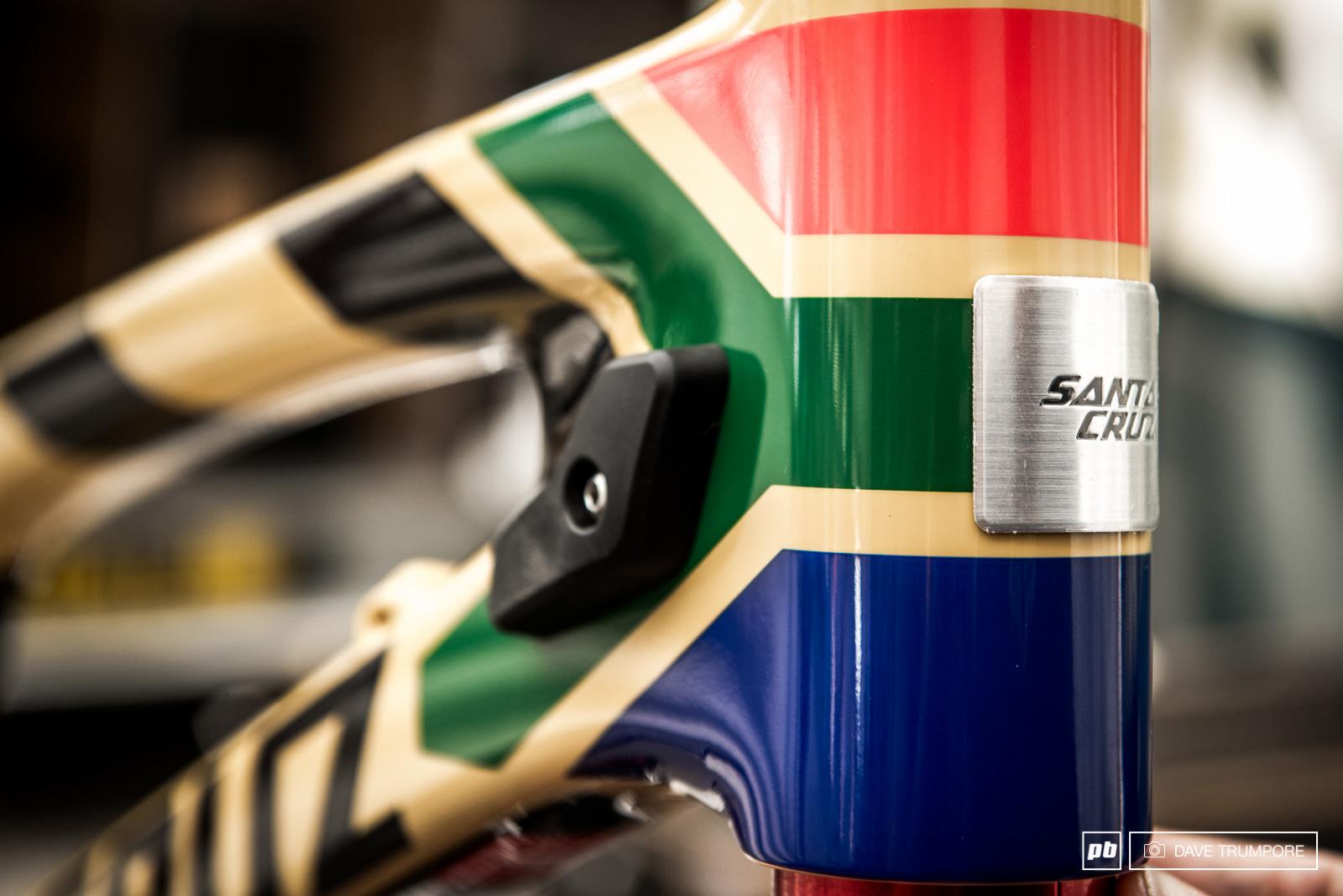 The South African flag draped the front of Greg Minnaar s Santa Cruz V10