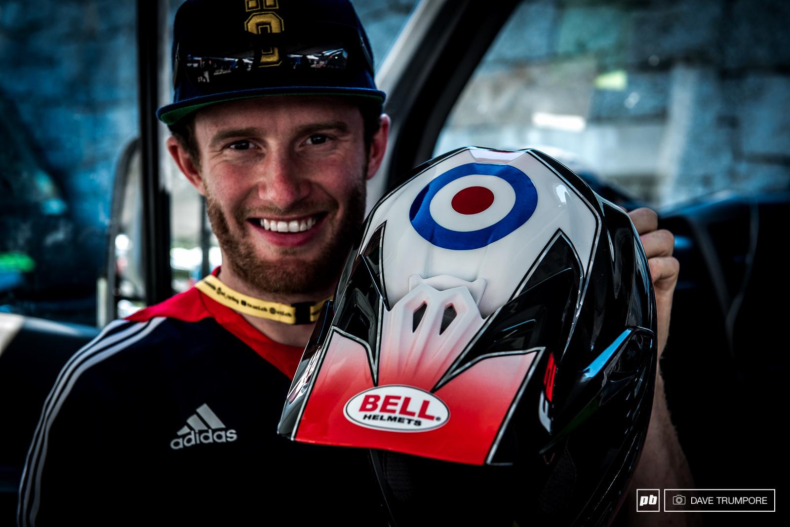 Adam Brayton s matching Bell helmet.
