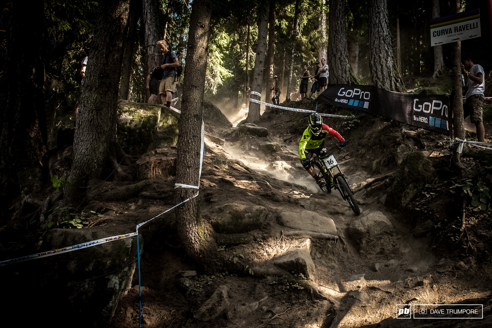 Greg Williamson drops into the steepest part of the track in Val di Sole.