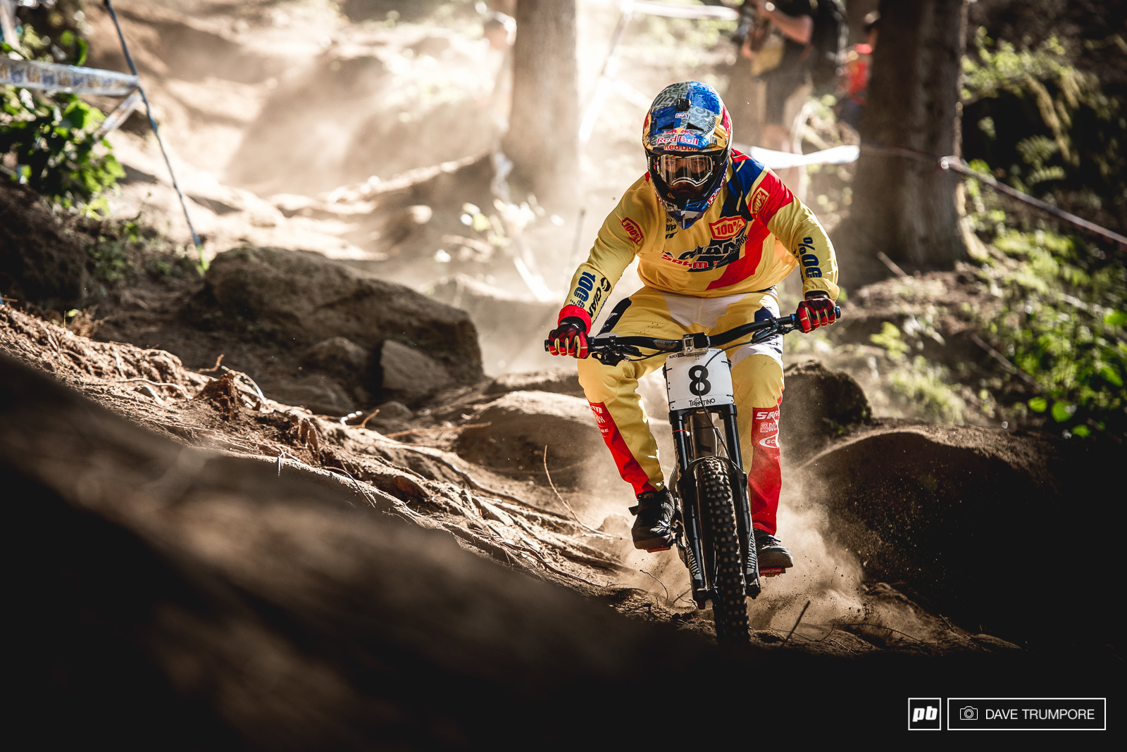 Marcelo drifts through the dust wearing the colors of Colombia.