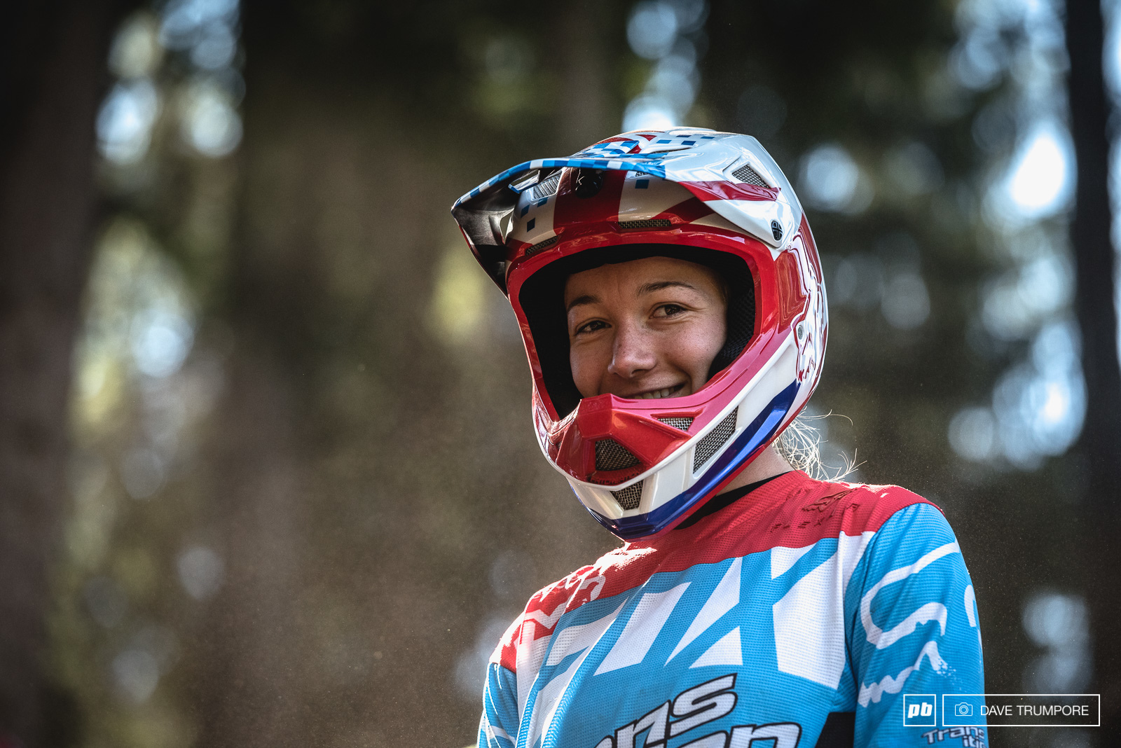 Tahnee Seagrave is a bit more confident in her line choice after a few runs than she was yesterday during track walk.