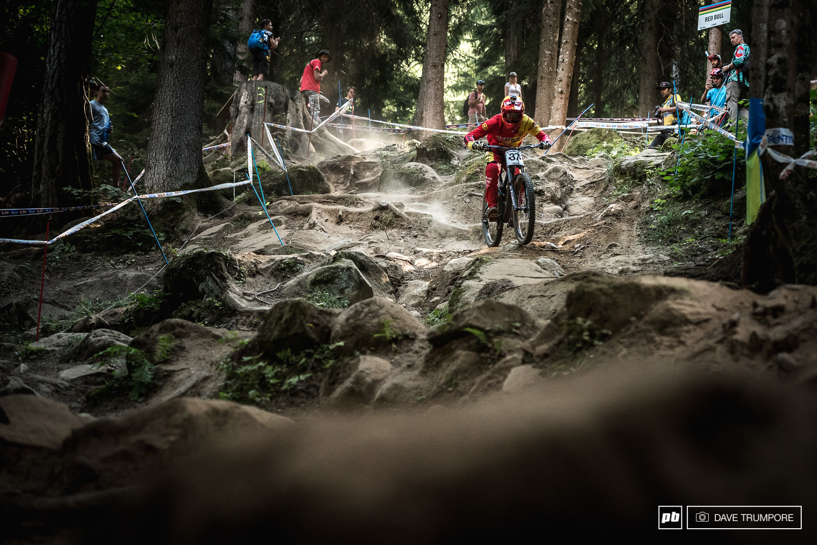 Alex Marin takes the inside line down the steep rock garden.