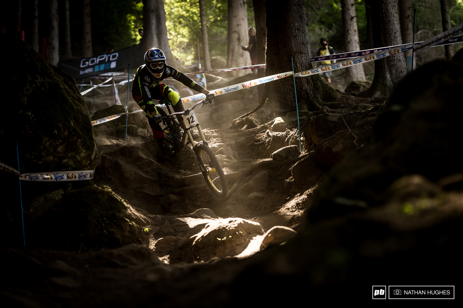 Florent Payet diving into another one of Val di Sole signature switchbacks.