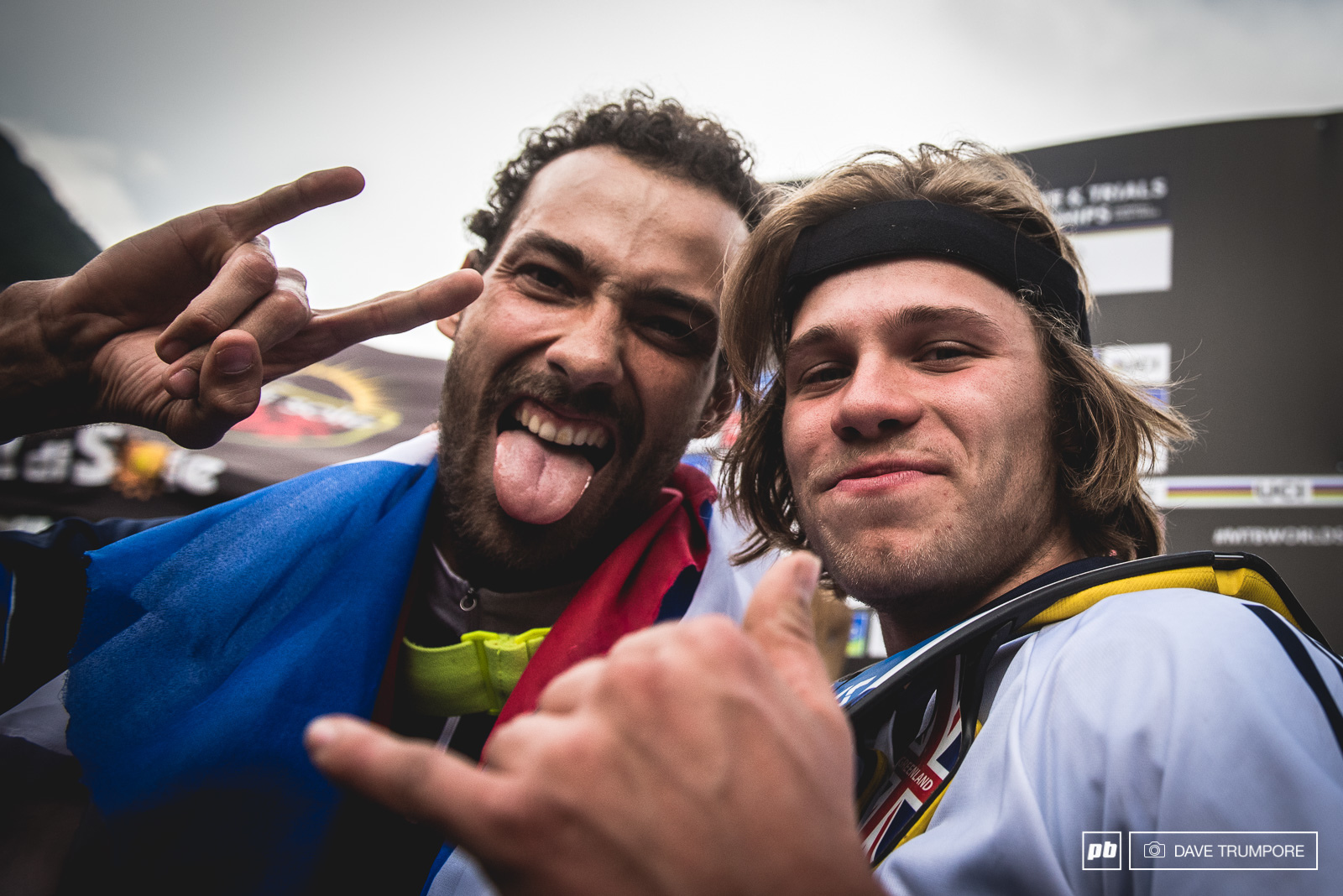 Florent Payet and Laurie Greenland celebrate after an incredible day of racing at World Champs.