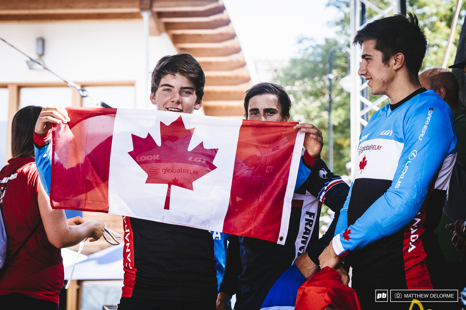 Two Canadians and a Frenchman. Iles Manson and Vige post race.