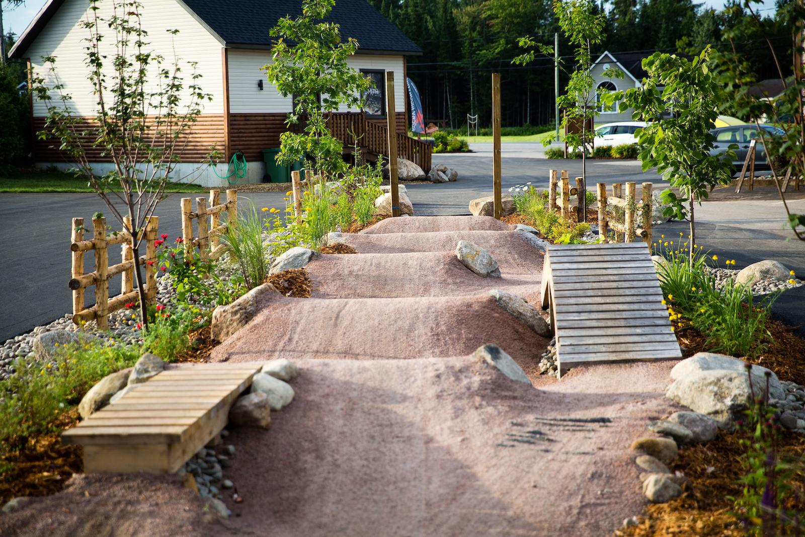 Not your average hotel landscaping job here. This is the first of what will be a pumptrack circle around the Roquemont. PHOTO Ben Gavelda