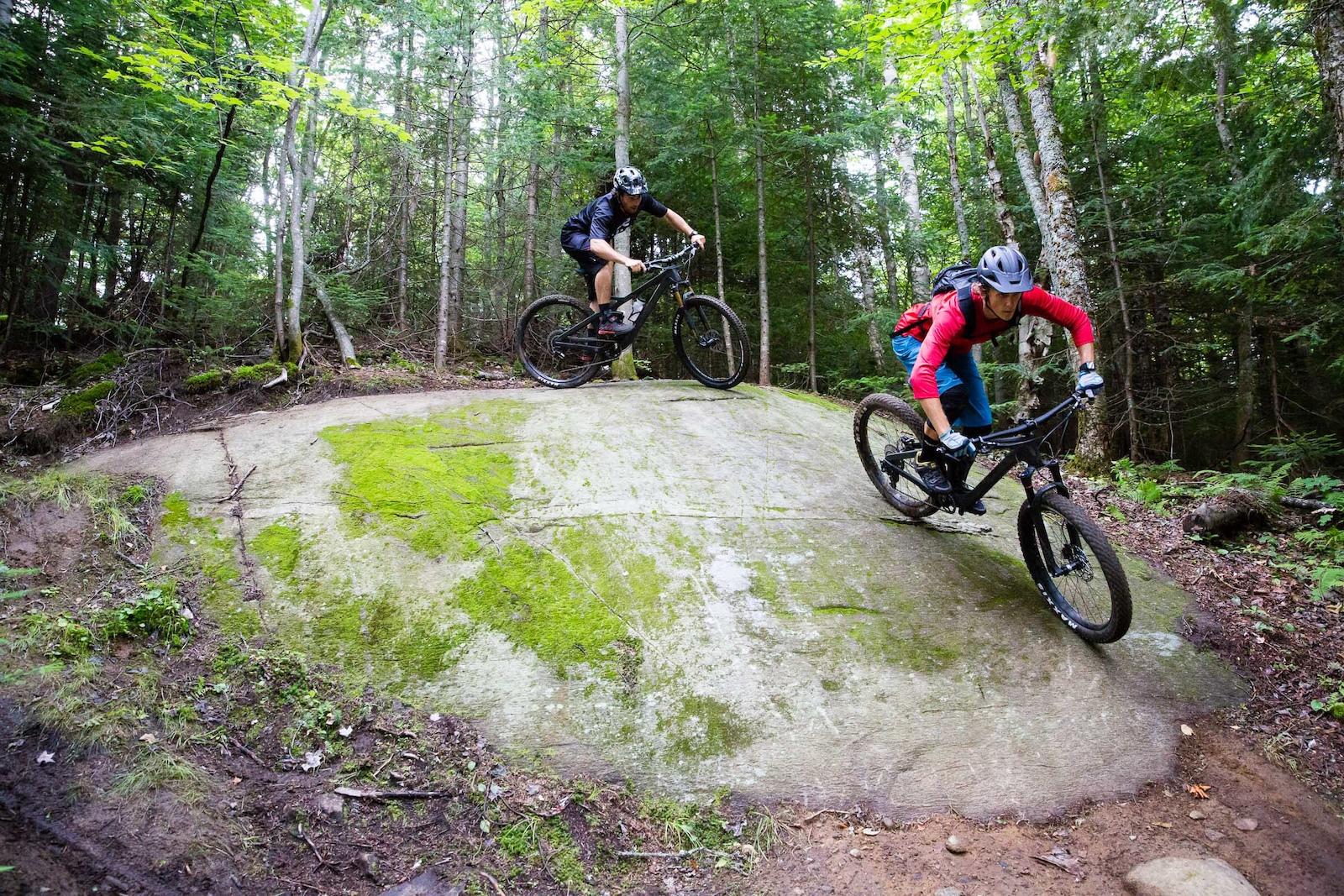 Julien and Sam rolling boulders. PHOTO Ben Gavelda