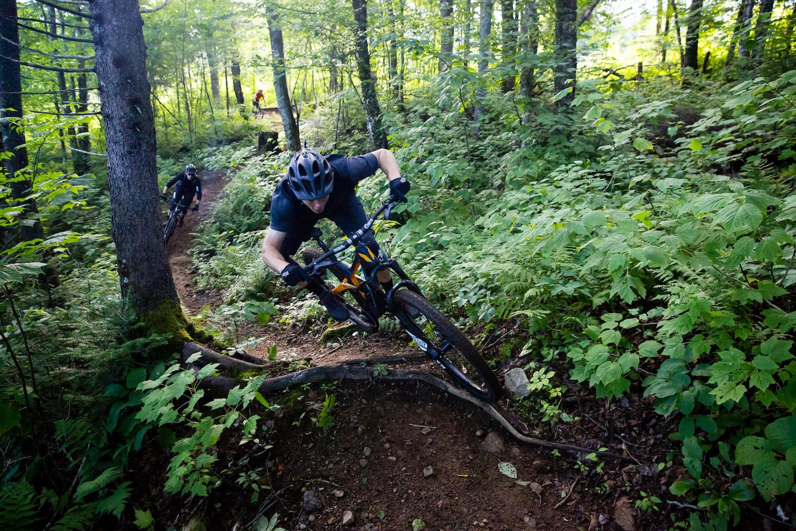 Mark floating over roots on the Boreal trail. PHOTO Ben Gavelda