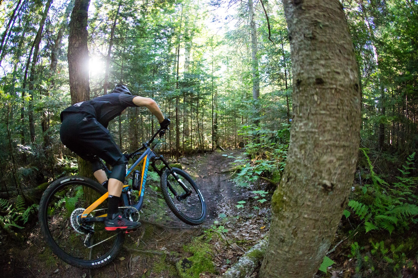 Mark Wallace flying and floating over roots at Saint Raymond. PHOTO Ben Gavelda