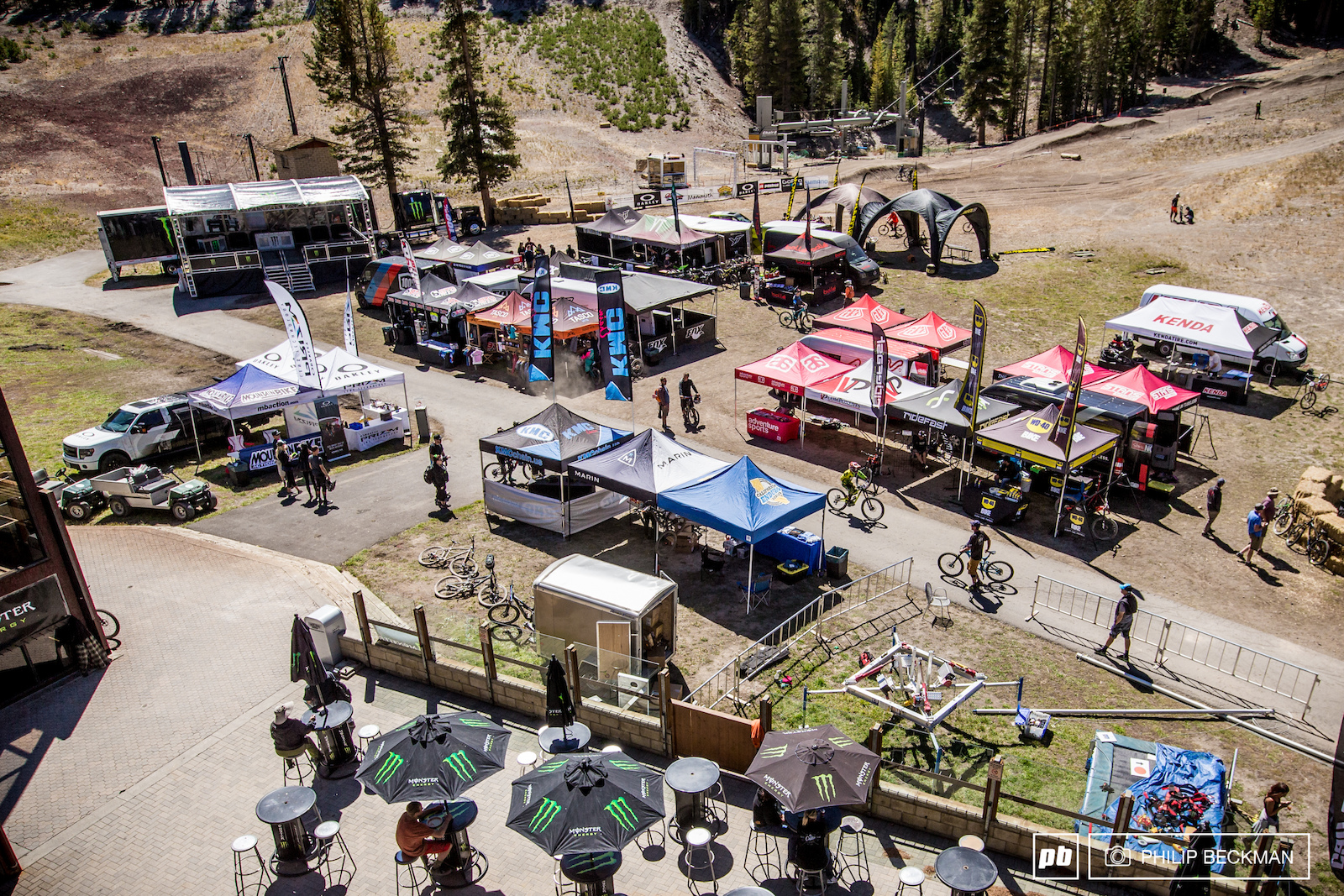 One view from the top of Canyon Lodge the epicenter of action at the Kamikaze Bike Games.