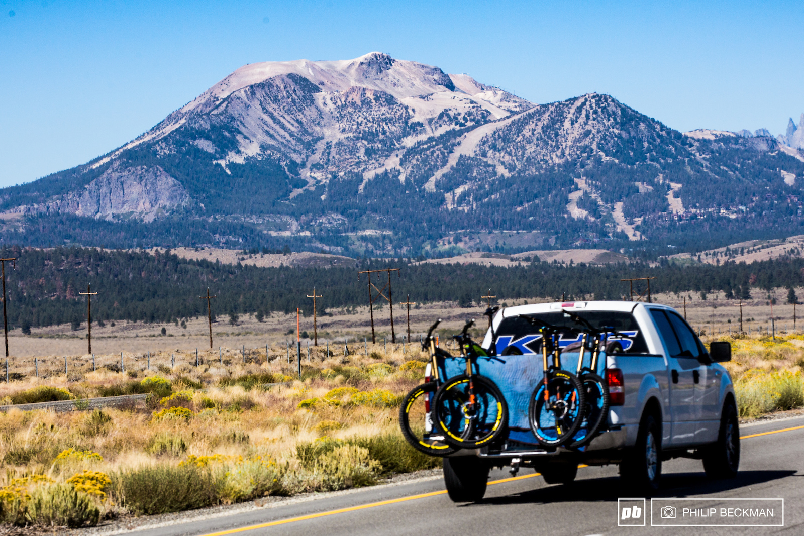 The destination Mammoth Mountain all 11 053 feet of it as seen from the primary feeder route California State 395.