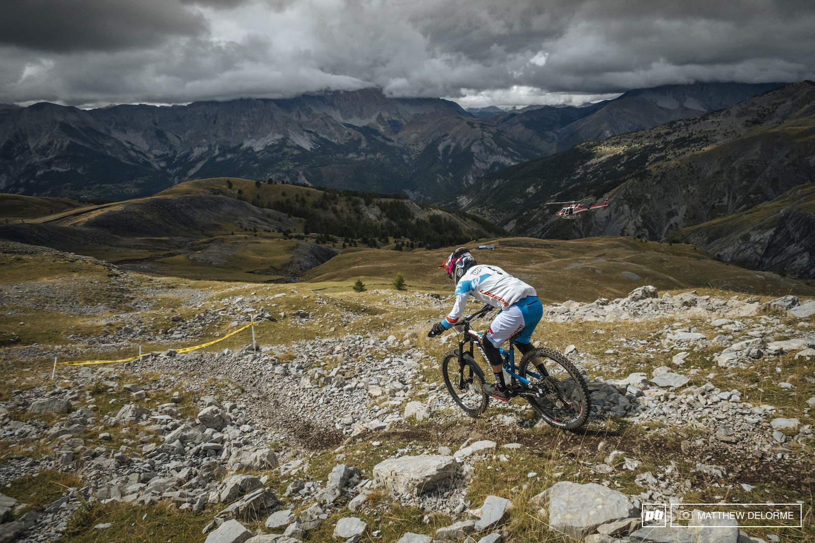 Nico Vouilloz out running the heli on his way to winning stage two. Vouilloz sits in second after day one.