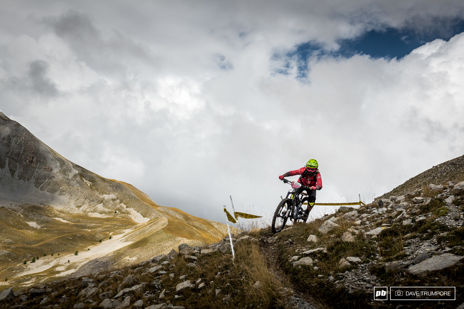 Anka Martin navigates her way through the ruts and rocks on the high alpine of stage 3.