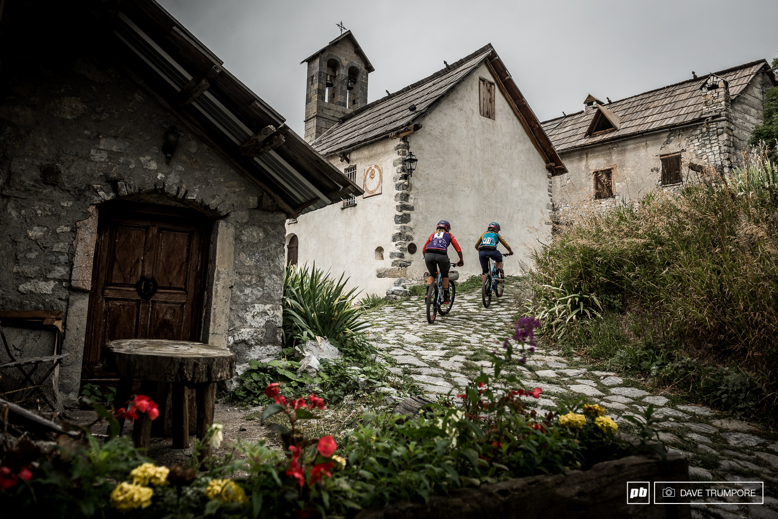 The Gehrig sisters head through the alpine village near the top of the long stage 3 liaison.
