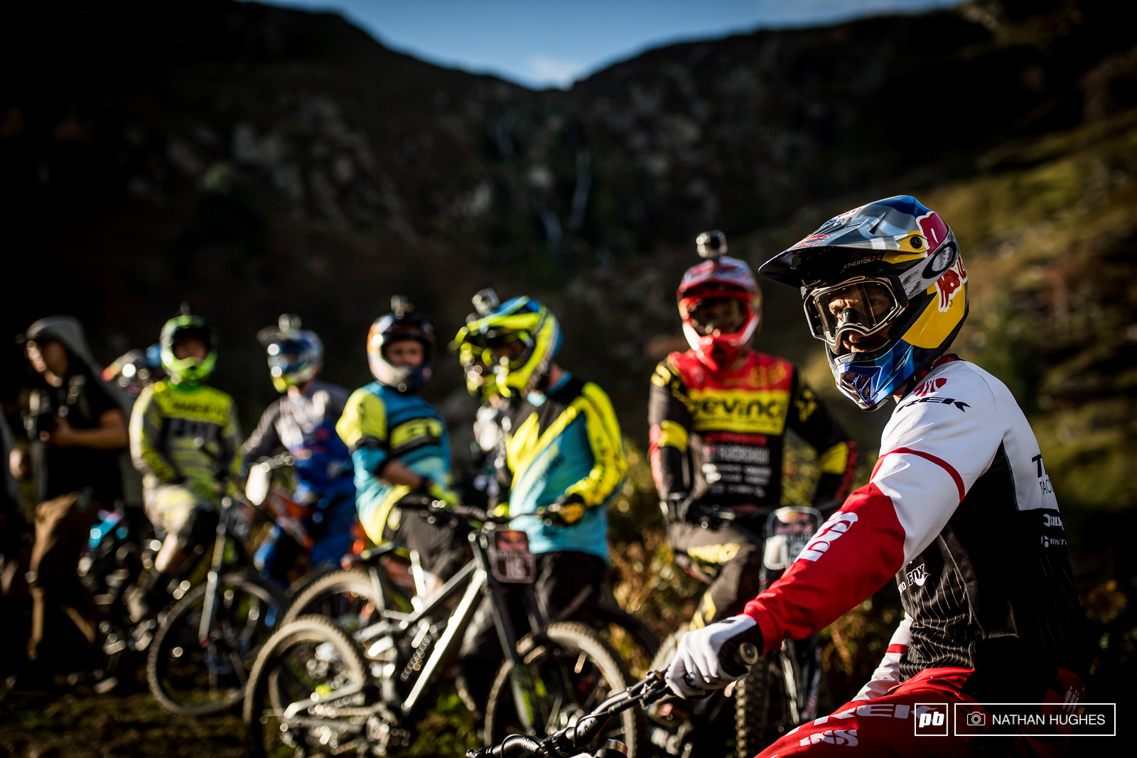 Gee Atherton leading out his band of merry fairly concerned for their safety men.