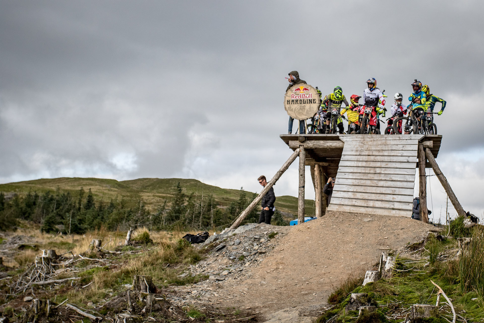 Riders waiting to drop in for first runs of the day.