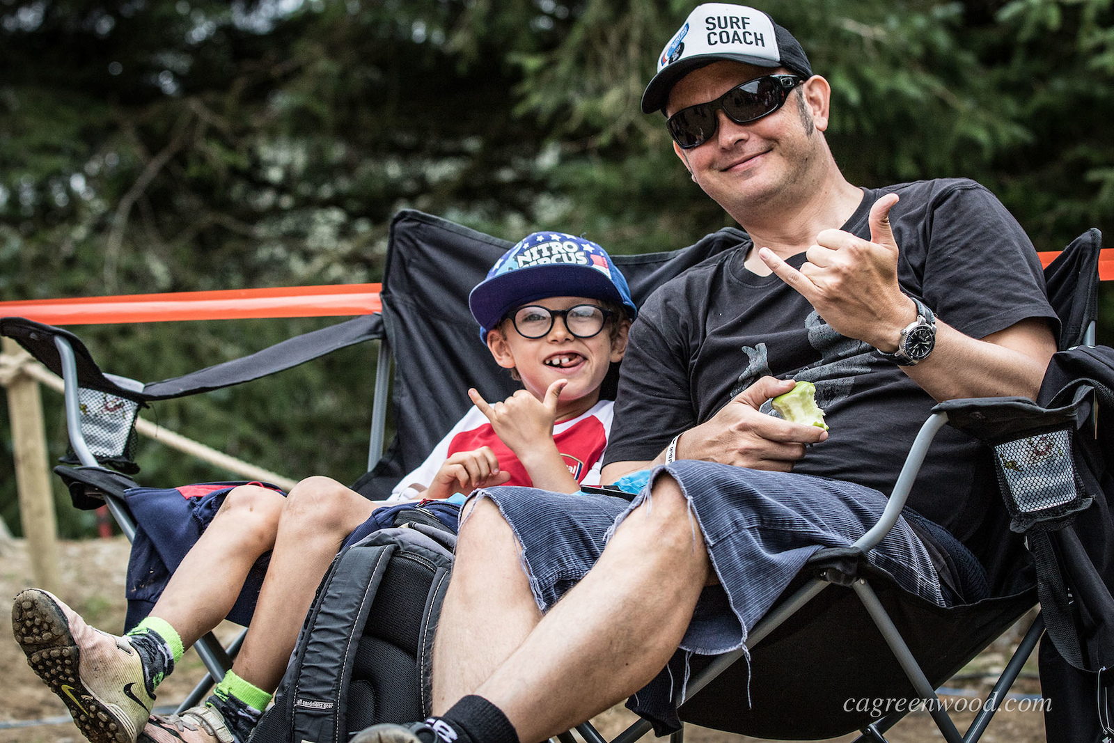 Fans of all ages were out on the hill enjoying the action. These guys had the best seat in the house parked up in front of the dirty ferns step up.