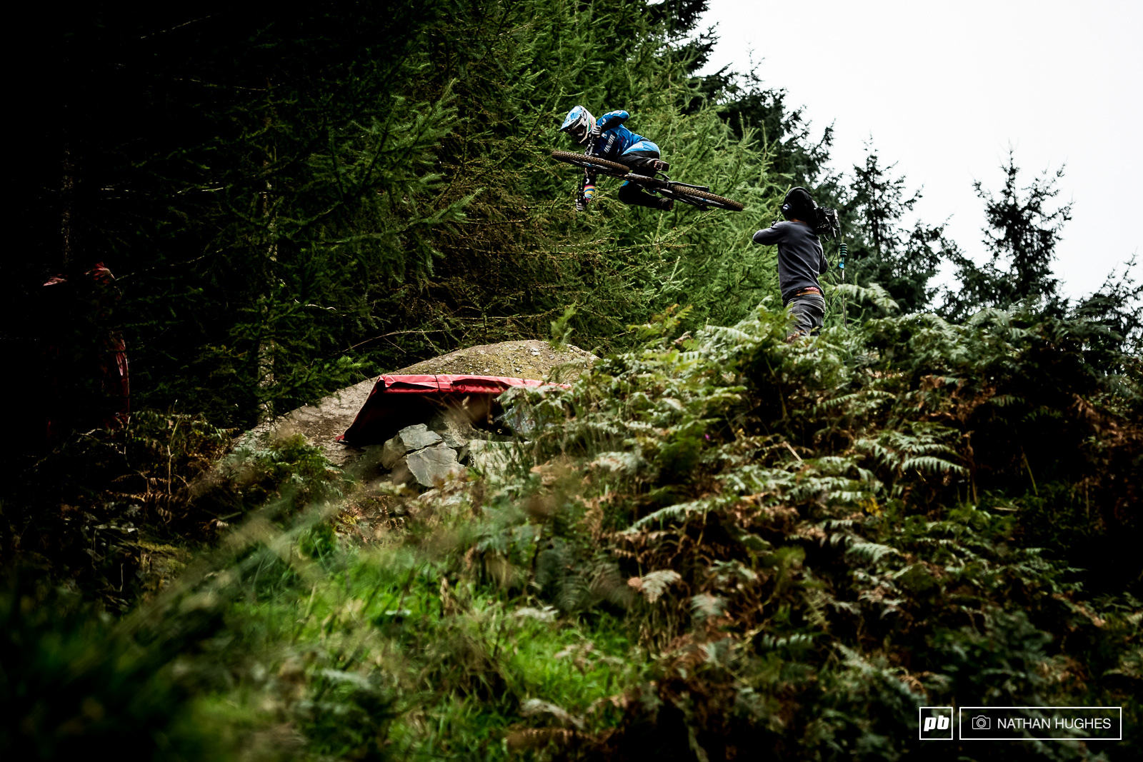 Ruaridh Cunningham going ninja on the bigger of the two wall jumps.