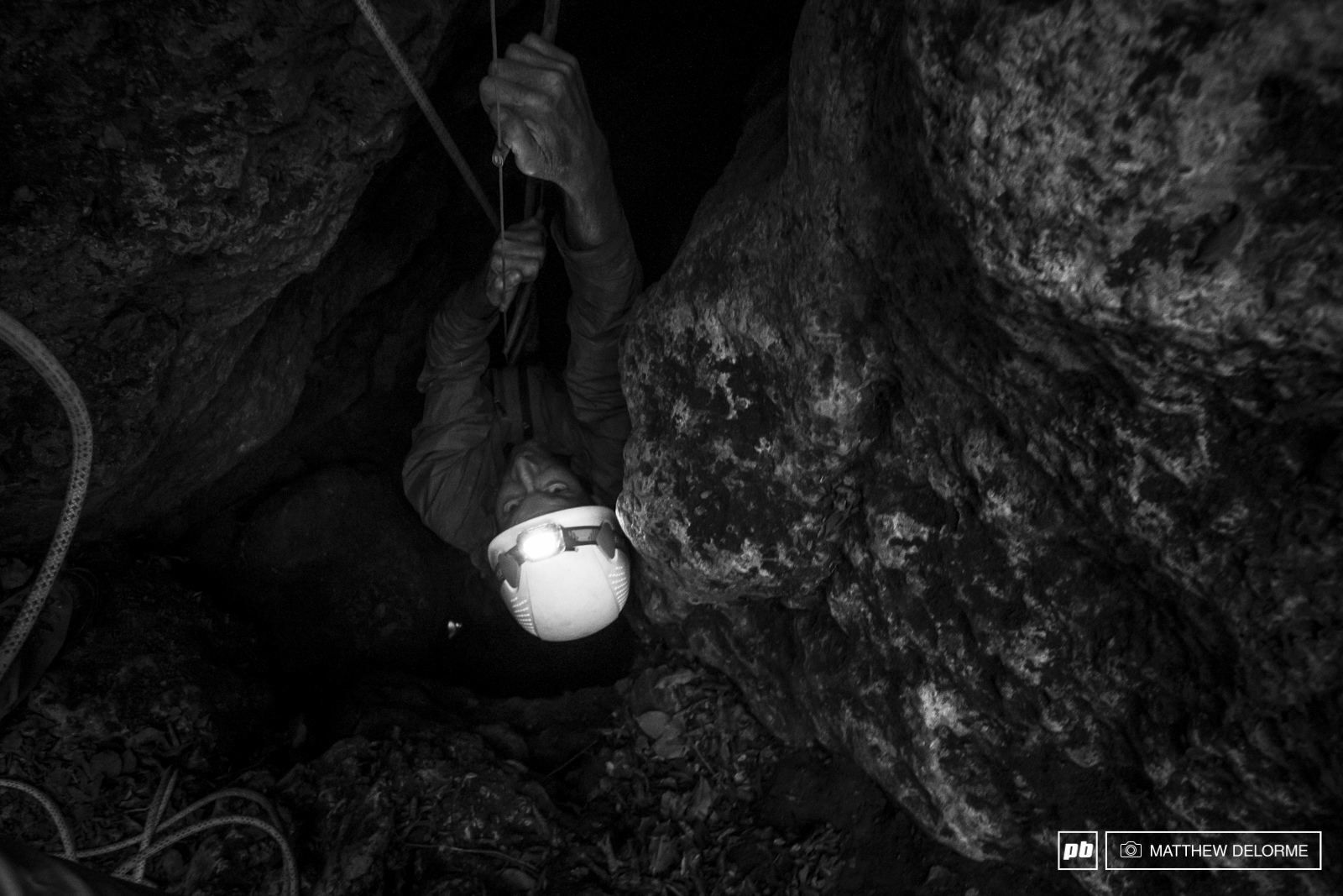 Dave crawls his way out of a deep dark crevice.