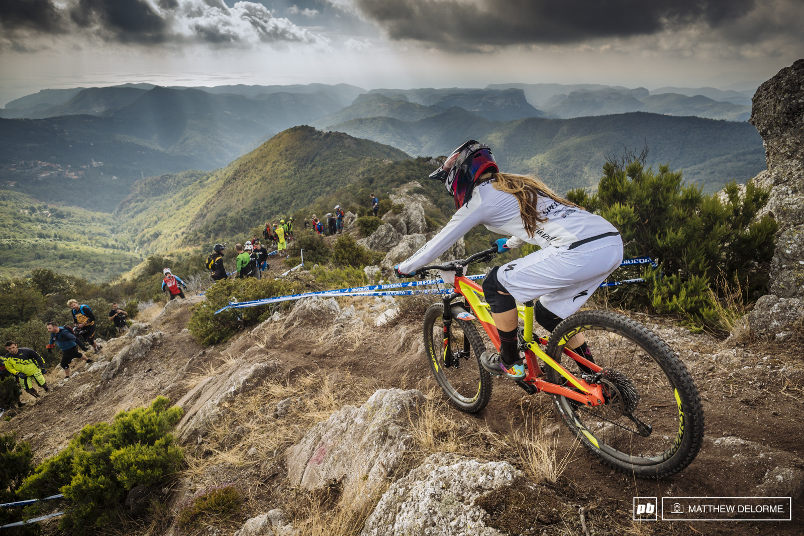 Hannah Barnes having no troubles on the ridge of stage five. Those whites stayed crispy clean.