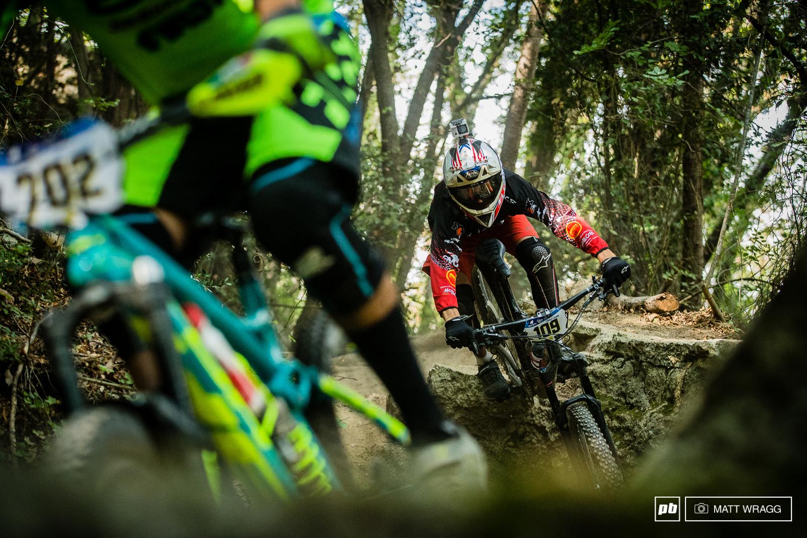 One of Italy s top riders Vittorio Gambirasio on the hunt in practice.