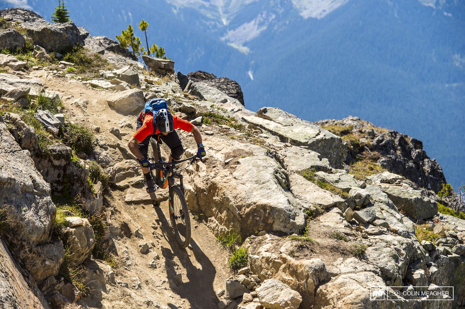 Vernon Felton testing the Santa Cruz Hightower on the Top of the World Trail in Whistler BC