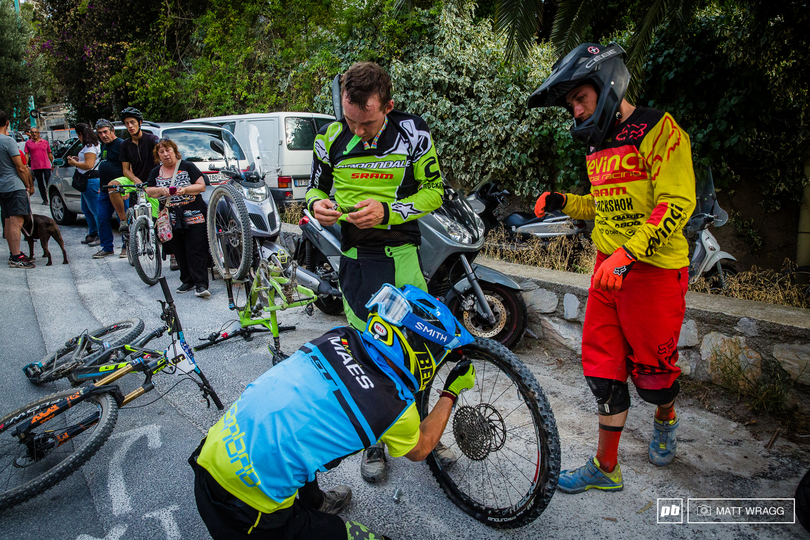 He may just have won his first race but Martin Maes still had time to stop and help a fellow rider in a fix.