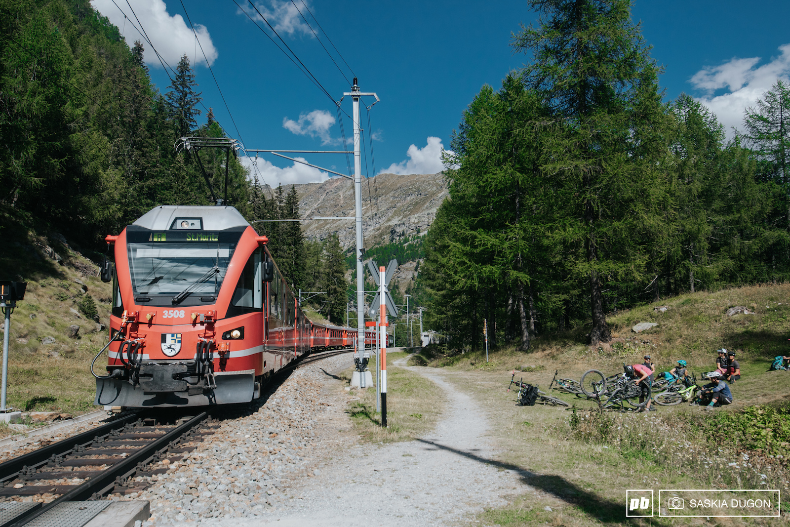 One of the many alpine railways venturing up and down the alpine passes.